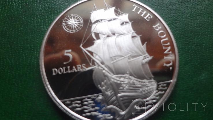 5  долларов 1992 Ниуэ  Парусник Баунти  серебро (2.1.3)~, фото №3