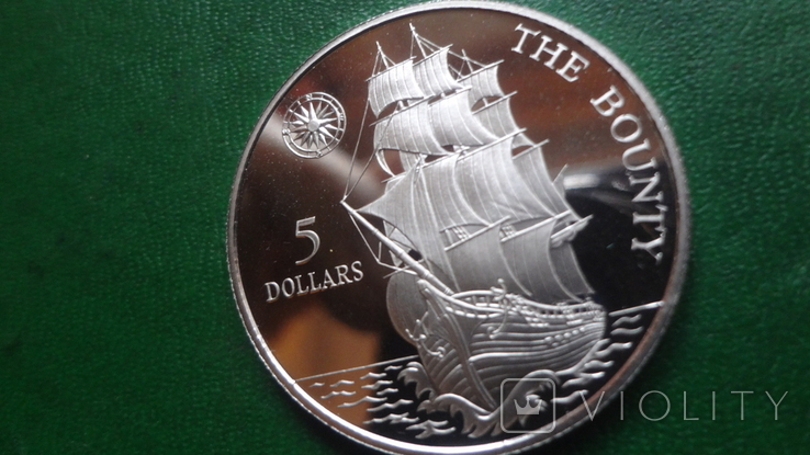 5  долларов 1992 Ниуэ  Парусник Баунти  серебро (2.1.3)~, фото №4