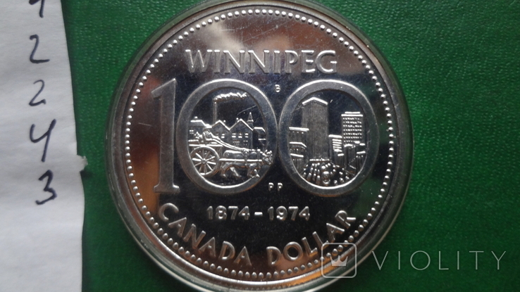 1 долларов 1974 Канада Виннипег  серебро (2.4.3)~, фото №5