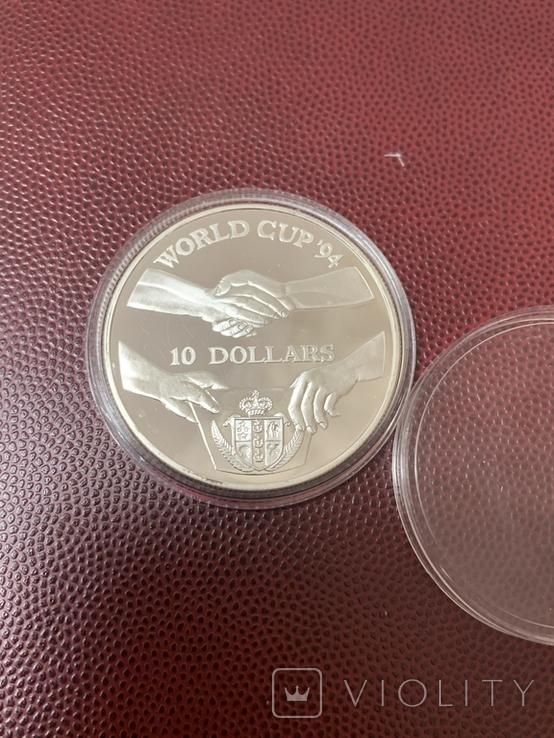 Срібло Ниуэ 10 долларов (1991 г.) Серебро Чемпионат мира по футболу 1994 года в США, фото №2