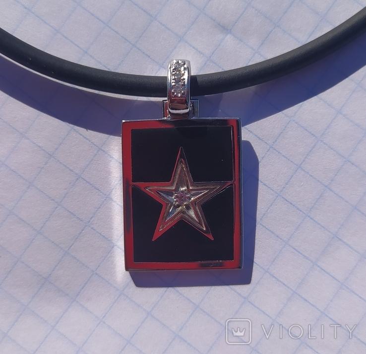 Фирменный кулон с эмалью и бриллиантами., фото №4