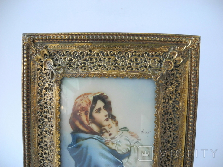 Старая Иконка в бронзовой раме ( Италия ), фото №3