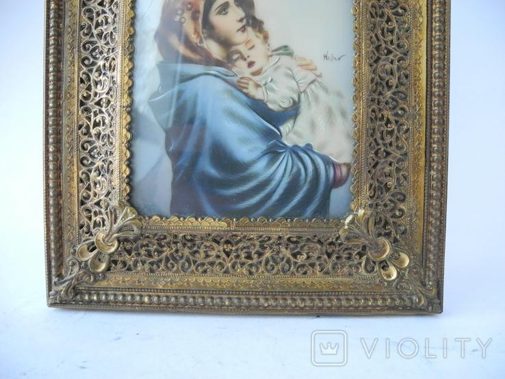 Старая Иконка в бронзовой раме ( Италия ), фото №5