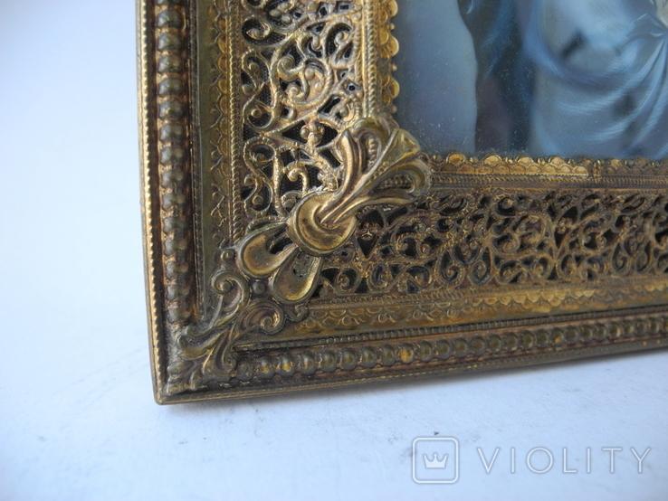 Старая Иконка в бронзовой раме ( Италия ), фото №7