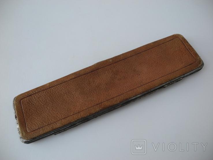 Старинный кожаный аксесуар вышит гладью ( Италия нач ХХ в ) Винтаж, фото №7