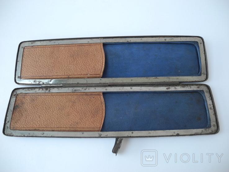 Старинный кожаный аксесуар вышит гладью ( Италия нач ХХ в ) Винтаж, фото №8
