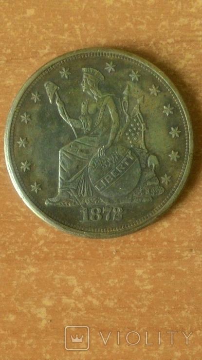 Торговый доллар 1872 год. Копия., фото №2