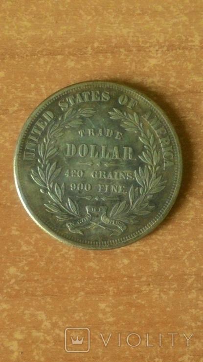 Торговый доллар 1872 год. Копия., фото №3