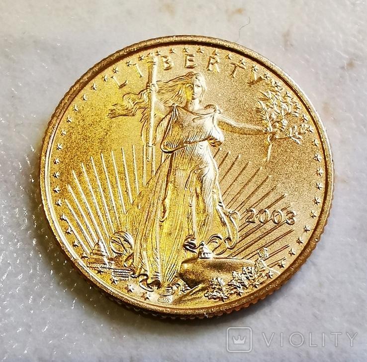 5 долларов 2003 г. 1/10 oz., фото №2