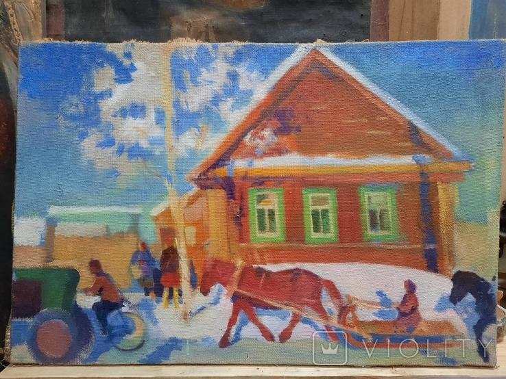 Картина Зима в деревне, фото №7