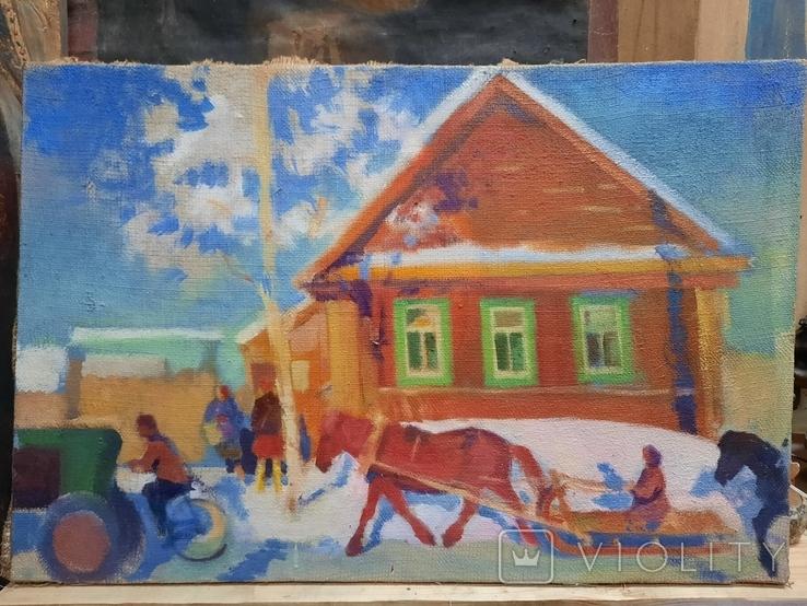 Картина Зима в деревне, фото №2