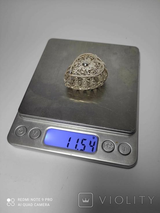 Шкатулка для благовоний, серебро, скань., фото №3