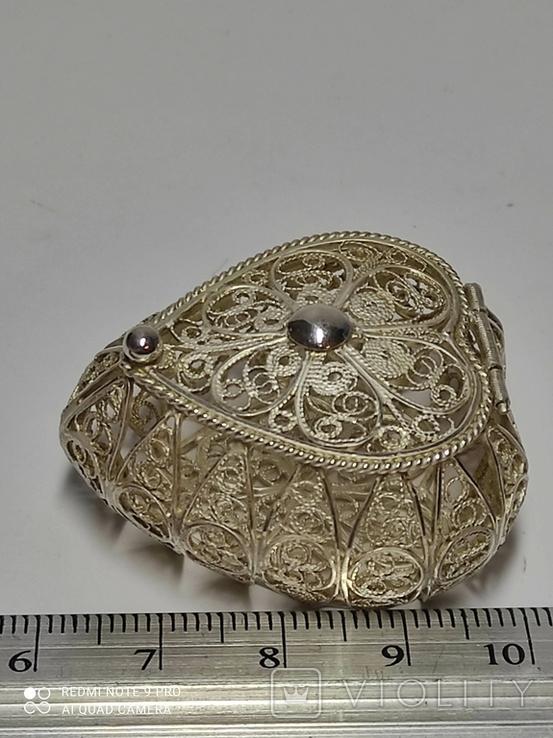 Шкатулка для благовоний, серебро, скань., фото №4