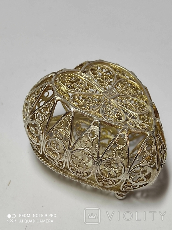 Шкатулка для благовоний, серебро, скань., фото №6