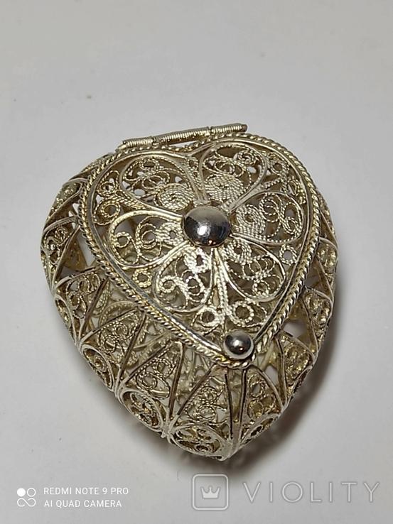 Шкатулка для благовоний, серебро, скань., фото №7