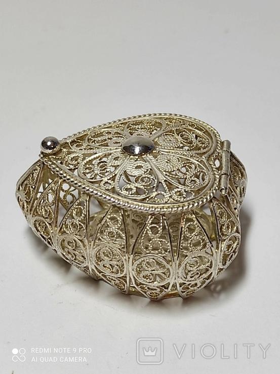 Шкатулка для благовоний, серебро, скань., фото №2