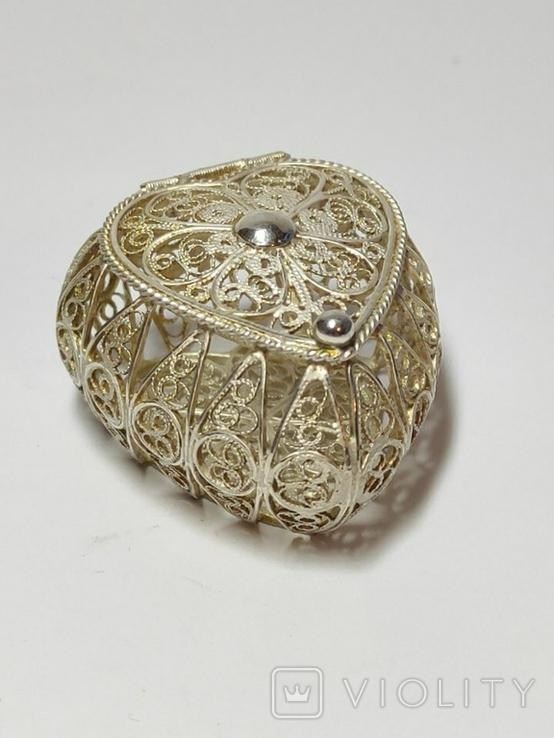 Шкатулка для благовоний, серебро, скань., фото №8