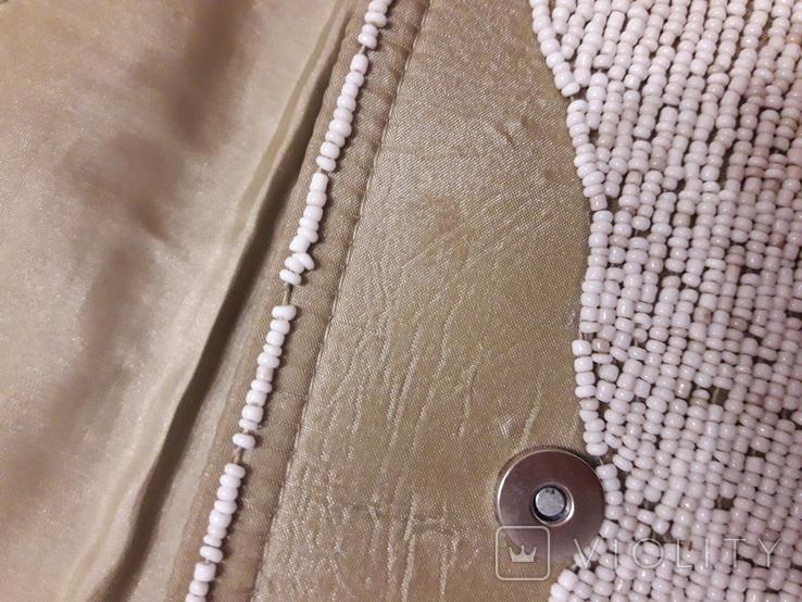 Сумочка клатч, обшитый белым бисером., фото №9