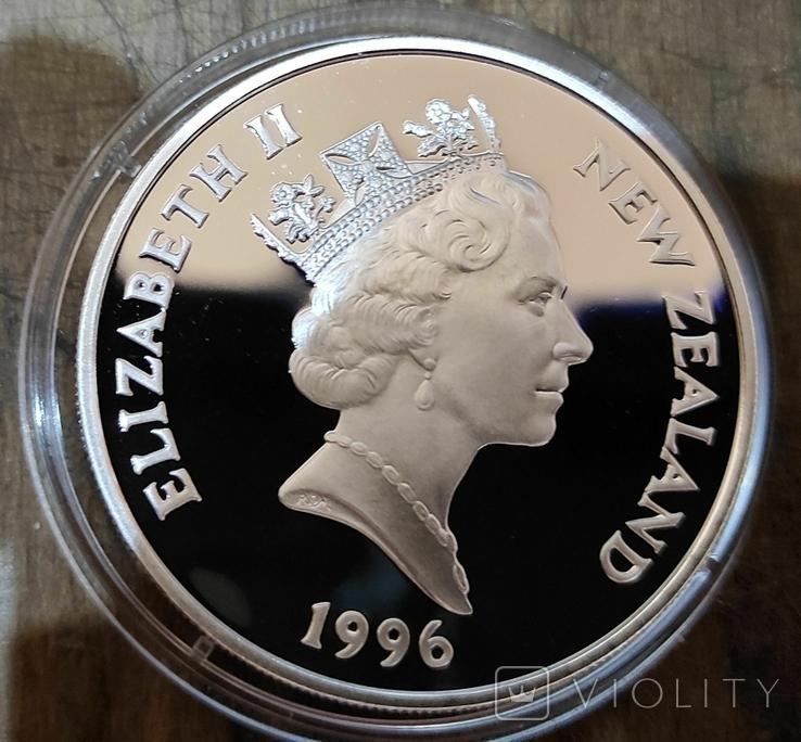 Новая Зеландия 5 долларов 1996 г. Серебро. Корабль, фото №3