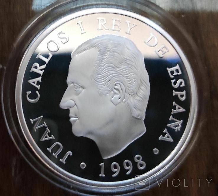 Испания 1000 песет 1998 г. серебро. Корабль, фото №3