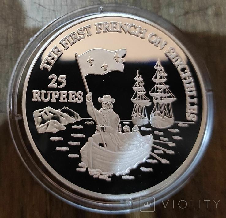 Сейшельские Острова 25 рупий 1993 г. Серебро. Пруф. Корабль, фото №2