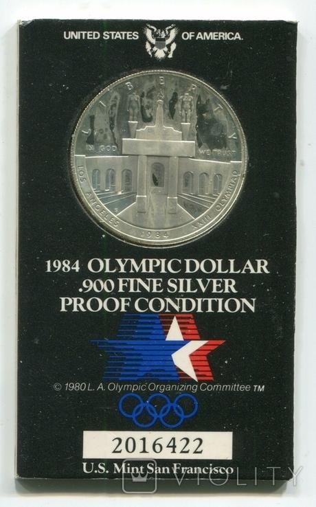 США 1 доллар 1984 XXIII Летние Олимпийские игры 1984 года в Лос-Анжелесе. Монетный двор S, фото №2