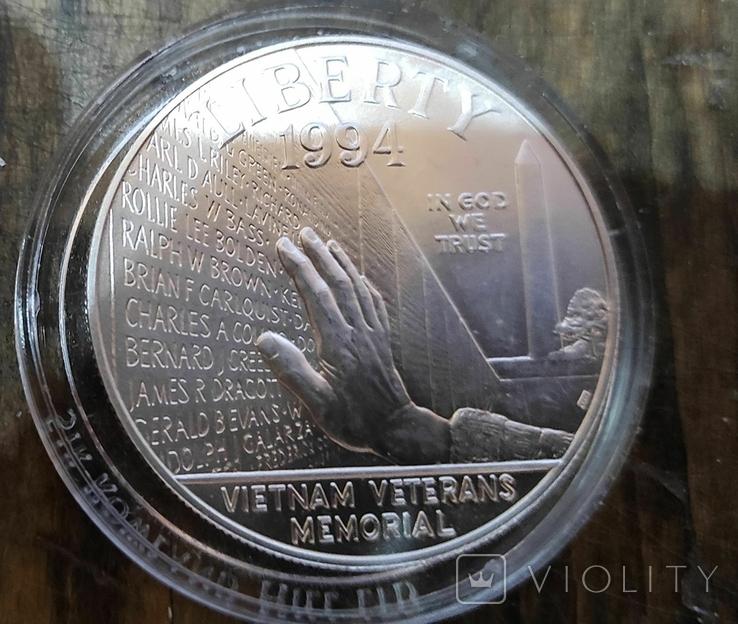 США 1 доллар 1994 г. Мемориал ветеранов Вьетнама., фото №2
