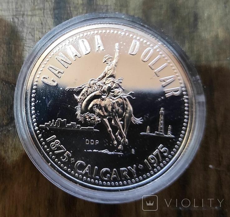 Канада 1 доллар 1976 г. Серебро. 100-летие Библиотеки Парламента Канады., фото №2