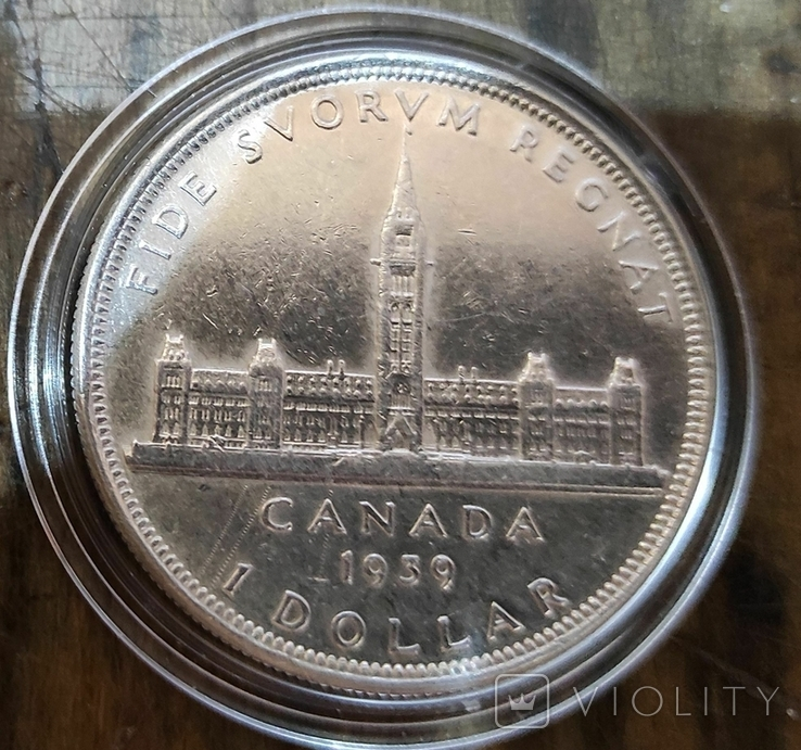 Канада 1 доллар 1939 г Серебро. Королевский визит, фото №2