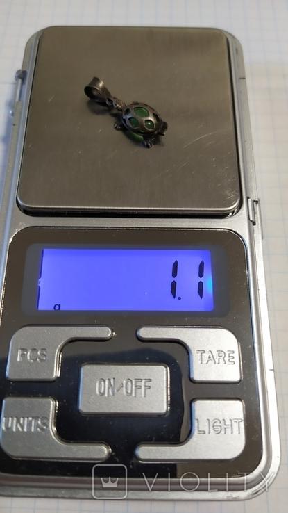 Серебренная подвеска черепаха., фото №2
