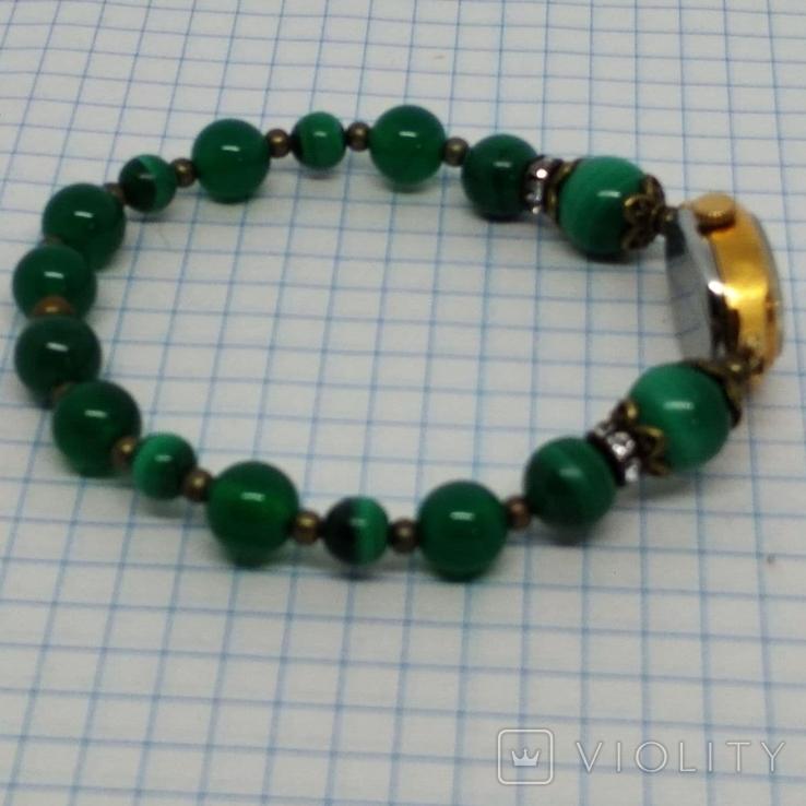 Чайка позолоченная с браслетом из малахита, фото №3
