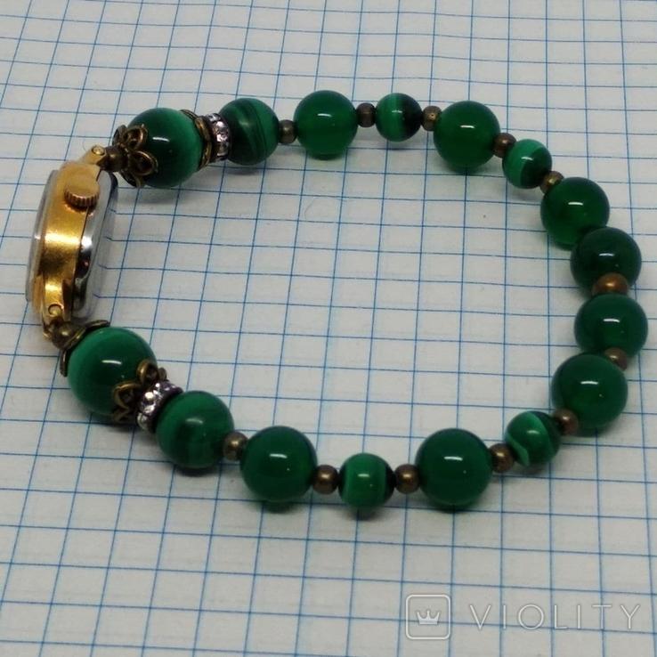 Чайка позолоченная с браслетом из малахита, фото №4
