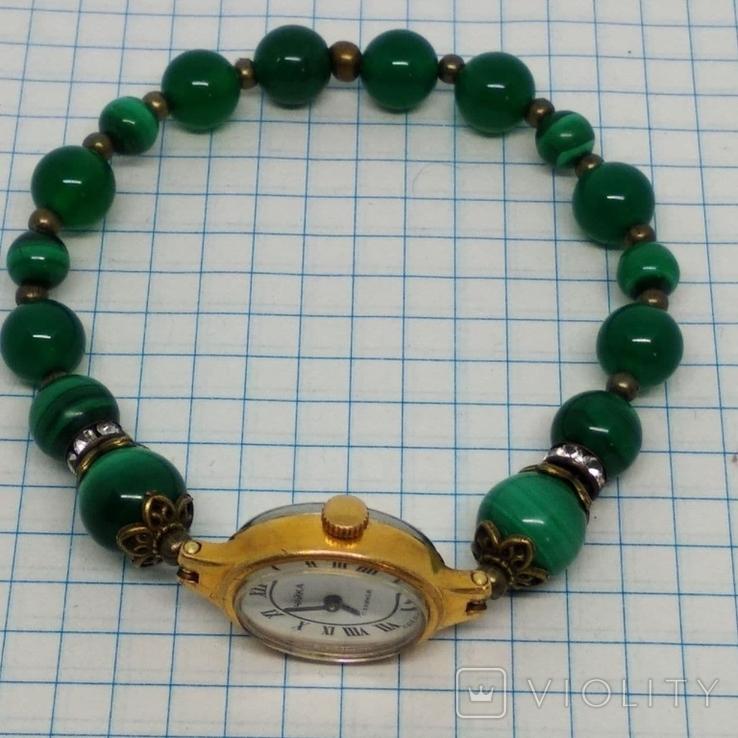 Чайка позолоченная с браслетом из малахита, фото №6