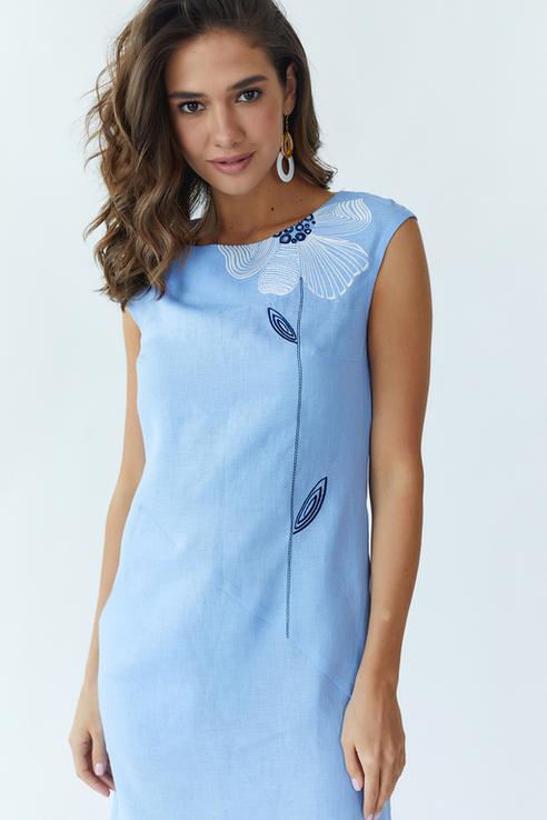 Сукня жіноча Східна квітка (льон блакитний), фото №3
