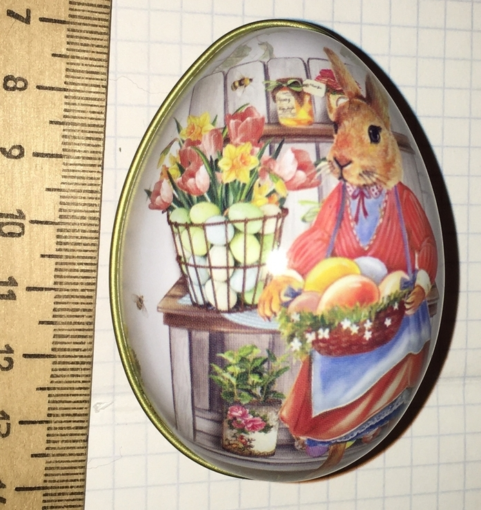 Шкатулка жестяная, пасхальное яйцо, заюшка-хозяюшка, цветы, фото №3
