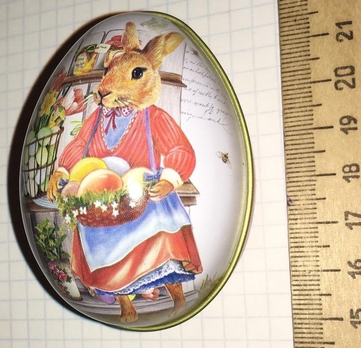 Шкатулка жестяная, пасхальное яйцо, заюшка-хозяюшка, цветы, фото №8
