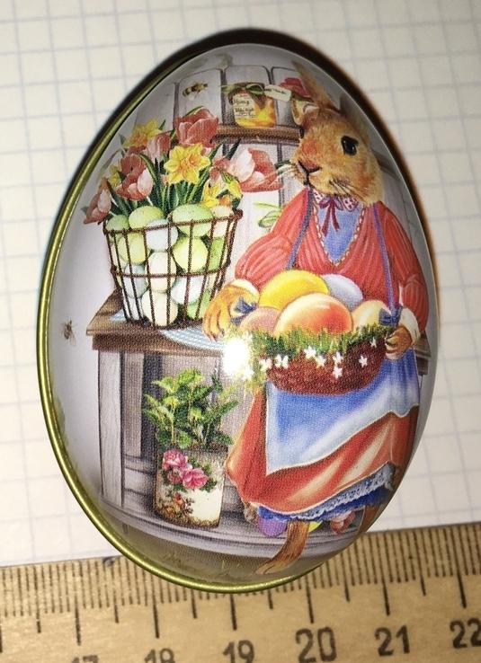 Шкатулка жестяная, пасхальное яйцо, заюшка-хозяюшка, цветы, фото №10