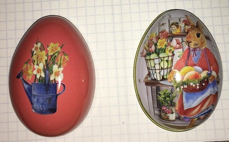 Шкатулка жестяная, пасхальное яйцо, заюшка-хозяюшка, цветы, фото №12