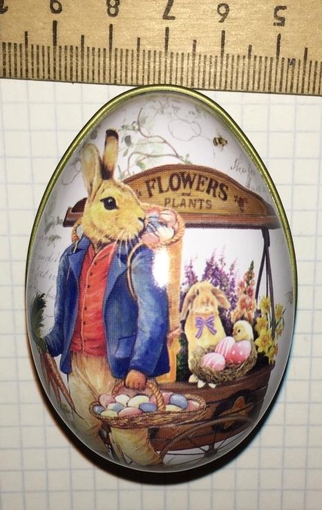 Шкатулка жестяная, пасхальное яйцо, зайцы, морковка / зайці, фото №7