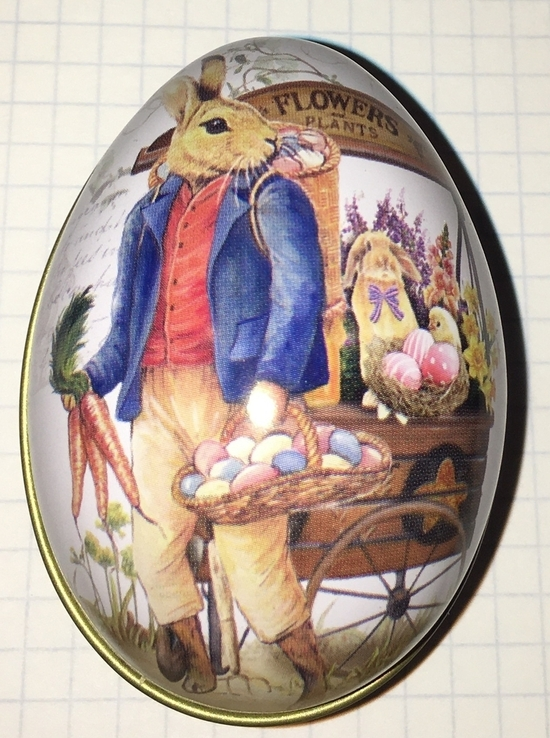 Шкатулка жестяная, пасхальное яйцо, зайцы, морковка / зайці, фото №9