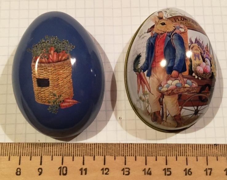 Шкатулка жестяная, пасхальное яйцо, зайцы, морковка / зайці, фото №10