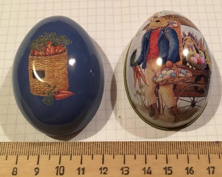 Шкатулка жестяная, пасхальное яйцо, зайцы, морковка / зайці, фото №11