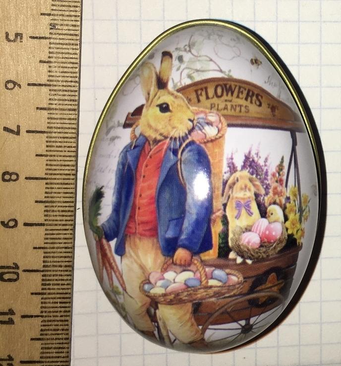 Шкатулка жестяная, пасхальное яйцо, зайцы, морковка / зайці, фото №13