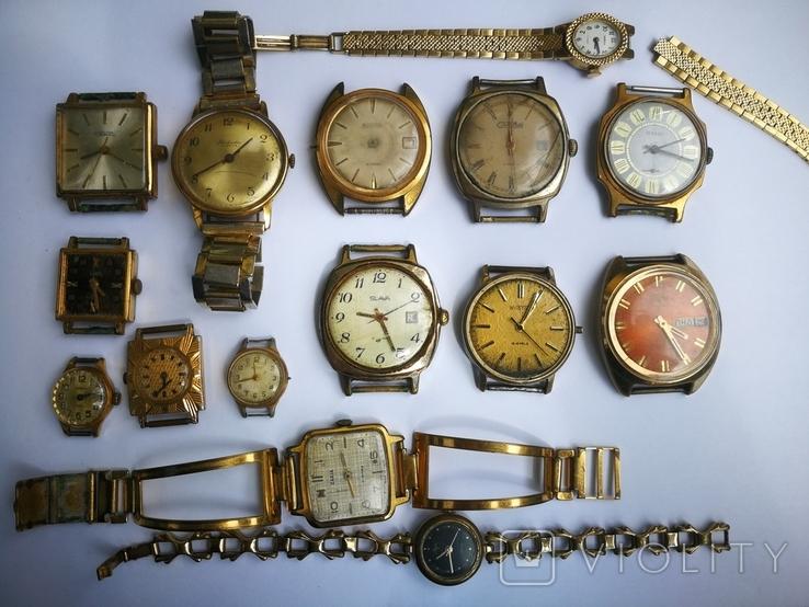 15 Часы СССР в позолоте Ау, Au, фото №2