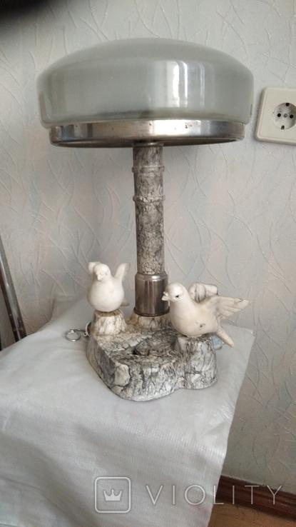 Мраморная лампа, плафон 26 см, фото №2