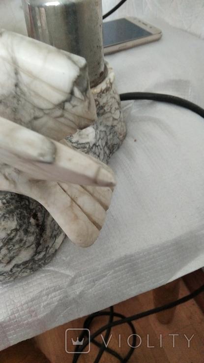 Мраморная лампа, плафон 26 см, фото №7
