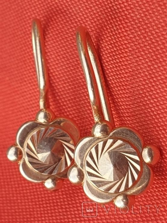 Золотые сережки 585 СССР 2,38гр, фото №2