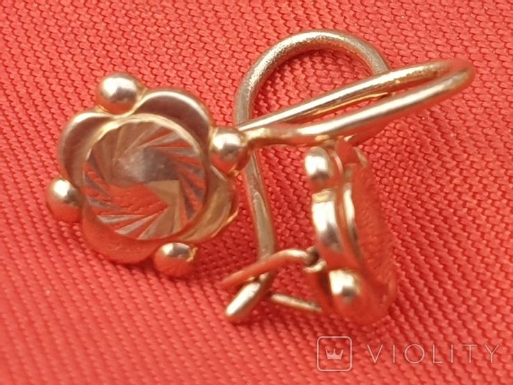 Золотые сережки 585 СССР 2,38гр, фото №3