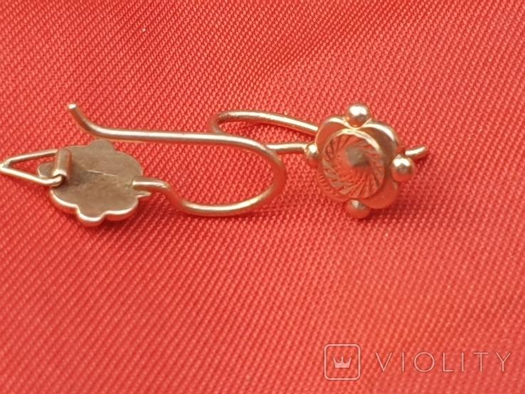 Золотые сережки 585 СССР 2,38гр, фото №8