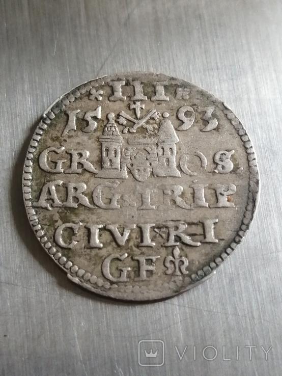 Монета 1593 року. Срiбла(Аg) 2.62 гр., фото №2